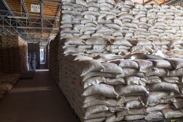 WFP collects and distributes food items for the Somali Region in Ethiopia in warehouses in Jijiga.