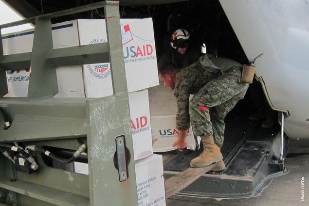 After arrival in Tacloban, USAID's emergency relief commodities—including hygiene kits and plastic sheeting to help 10,000 famil