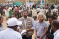 While visiting a food distribution site in Hawzien, USAID partners Relief Society of Tigray and Catholic Relief Services briefed USAID Office of Foreign Disaster Assistance Director Jeremy Konydnyk and Disaster Assistance Response Team (DART) Leader Kate Farnsworth about how the drought is affecting food distribution in the region.