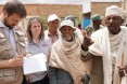 At a food distribution site in Hawzien, community elders describe how this drought compares with previous droughts to USAID Office of Foreign Disaster Assistance Director Jeremy Konydnyk (left).