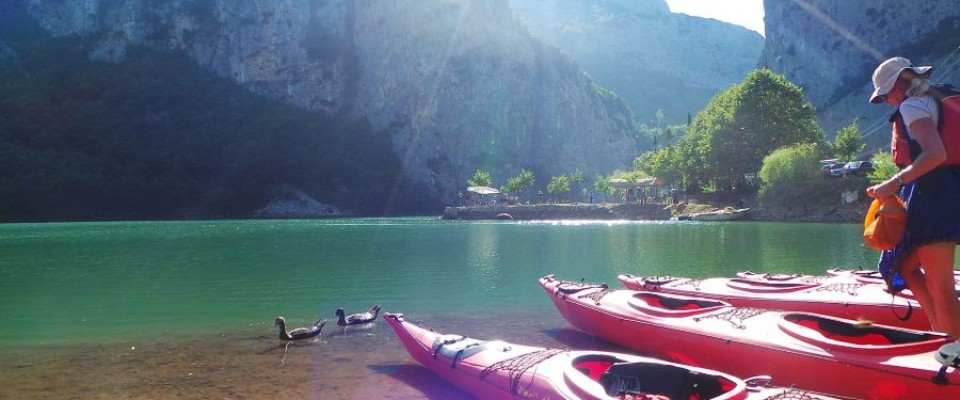 Journalists kayak on Lake Shkopet in northern Albania