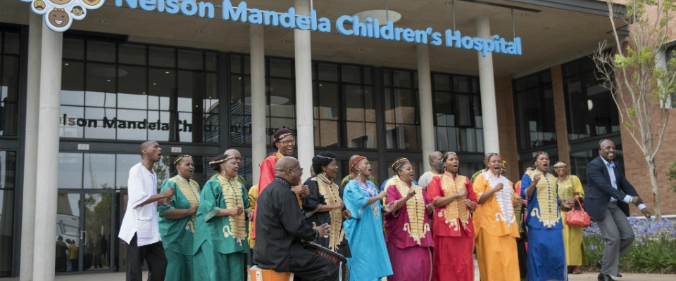 Celebrating outside the Nelson Mandela Children Hospital launch