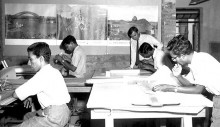 James Walden (standing) works with students in the design studio in 1962.