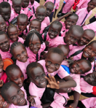 These rural schoolchildren participate in the USAID-funded Southern Sudan Interactive Radio Instruction project, which uses radi