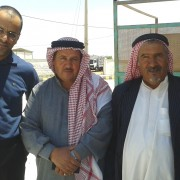 Mafraq Community Engagement Project organizer Ahmad Basbous, left, with Farhan Guneis and Salamah Al Gunis