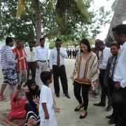 U.S. Ambassador Michele J. Sison talks to local children during her welcome to Mathiveri island. According to North Ari Atoll Co