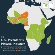 The U.S. President's Malaria Initiative is Expanding. New countries: Cameroon, Cote d'Ivoire, Niger, and Sierra Leone, and expanding existing program in Burkina Faso.