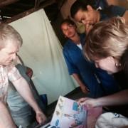 Senior DAA Wade Warren meets with community health workers in southwestern Madagascar