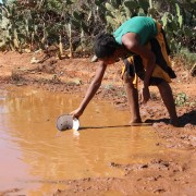 A child collects her family's drinking water from a muddy puddle in the middle of the road