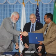 U.S. and Ethiopian representatives after signing the new five-year development cooperation agreement