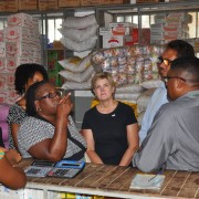 USAID Mission Director Susan Sawhill Riley visits a pharmaceutical wholesale shop in Diego, in northern Madagascar