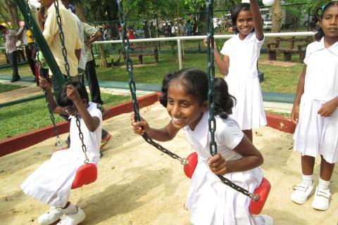 Tamil and Muslim children play at the new Kilinochchi Children's Park.