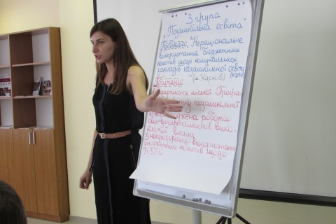 Olga Chichina presents her advocacy campaign for out-of-school education reform on the last day of the IRI Political Leadership Academy.