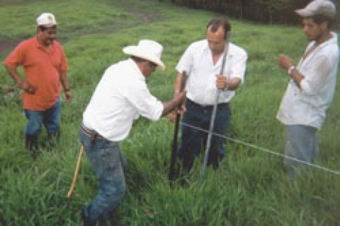 Farmer to Farmer volunteers work together with Nicaraguan cattlemen to install an electric fence.