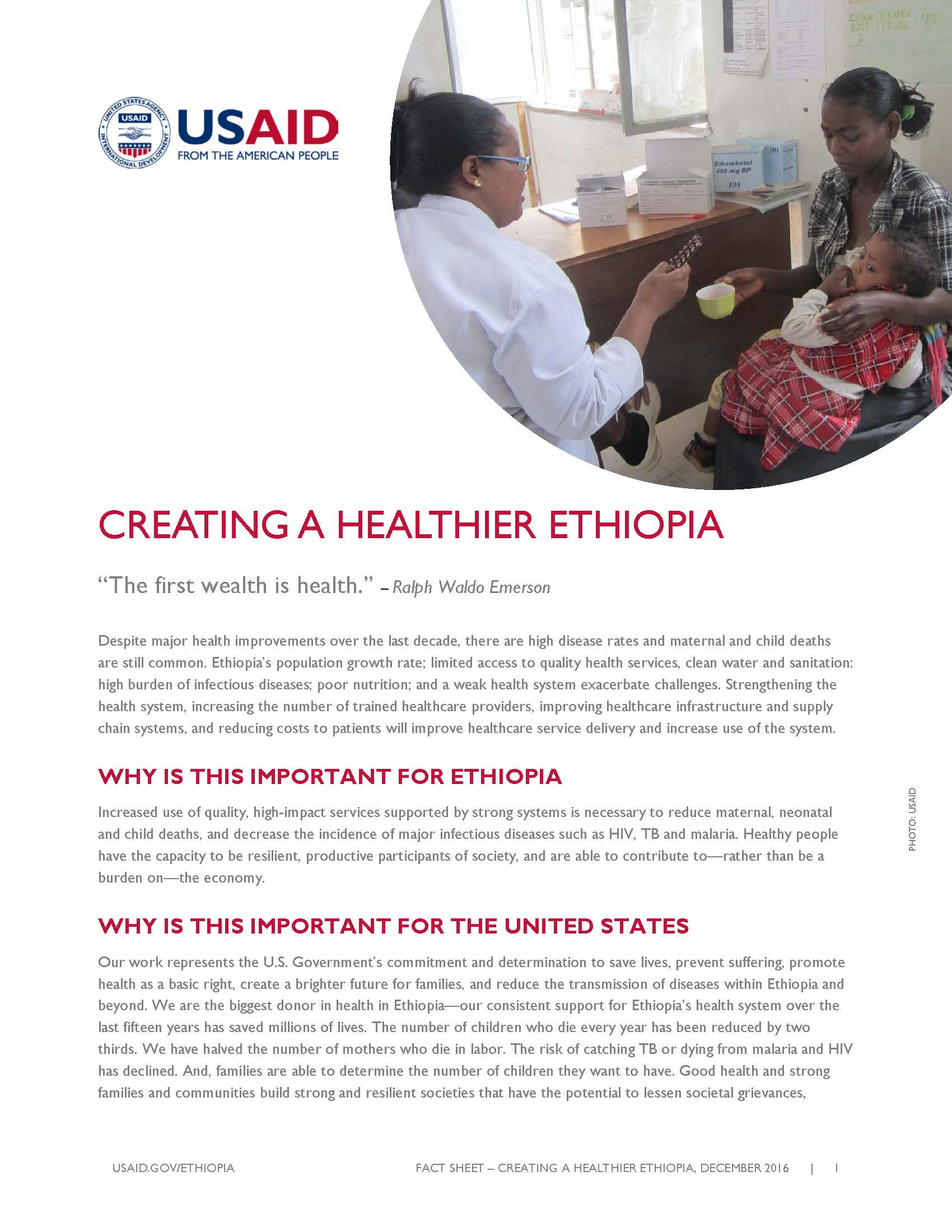 Ethiopia Global Health Fact Sheet cover page. Click to read